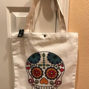 Colorful skull tote, orange/pink
